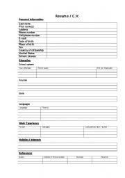 CV / Resume (blanc) form