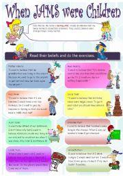 English Worksheet: used to part 2 / jam family