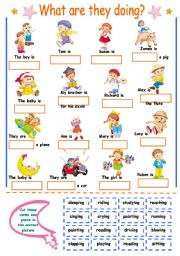 English Worksheets: Present Continuous for kids (cut and paste)