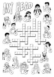 English Worksheet: My Head Crossword