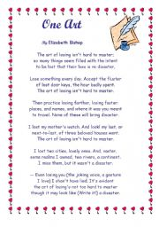 English Worksheets: One Art by Elisabeth Bishop