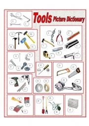 English Worksheets: Tools Picture Dictionary (full page)