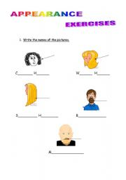 English Worksheets: appearance exercises
