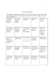 English Worksheet: Icebreaker Bingo for Older Kids and Adults