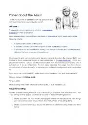 English Worksheet: Amish paper