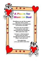 English Worksheet:  A poem for mom or dad