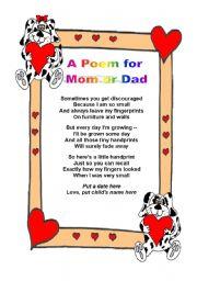English Worksheet A Poem For Mom Or Dad
