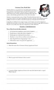 English Worksheet: Christmas Time World Wide (READING COMPREHENSION)