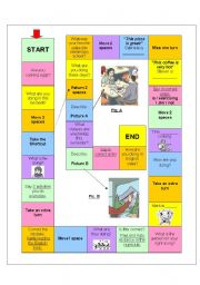 English Worksheet: Board Game Present Continuous