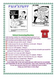 English Worksheet: FUN STUFF FOR THE ENGLISH CLASSROOM