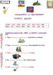 English Worksheet: Obligation and prohibition  at school