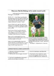 English Worksheets: Man uses Barbie fishing rod to make record catch