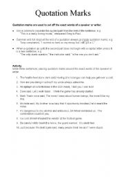English Worksheet: Direct Speech - Quotation Marks