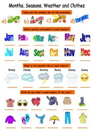 English Worksheet: seasons (months,weather and clothes)