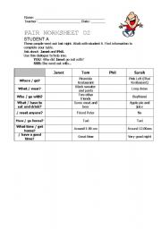 Past Simple - Pair work activity - Student A