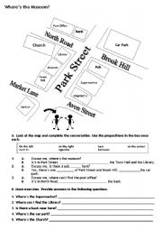 English Worksheet: where´s the museum?