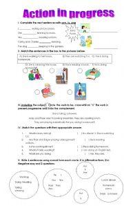 English Worksheets: Action in progress (ing)