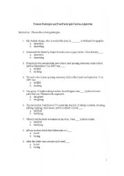 Worksheets Participle Worksheets english teaching worksheets past participle present and used as adjectives