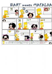 English Worksheet: Bart meets Mafalda