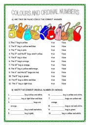 English Worksheet: COLOURS AND ORDINAL NUMBERS