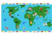 English Worksheet: World Map for Kids