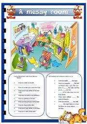 English Worksheets: A messy room