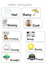 English Worksheet: WEATHER MEMORY GAME part 1/3