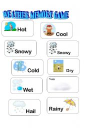 English Worksheet: WEATHER MEMORY GAME PART 2/3