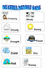 English Worksheet: WEATHER MEMORY GAME PART 3/3