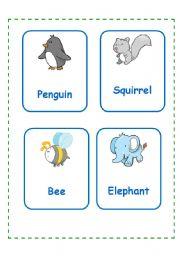 English Worksheet: Animal cards SET 1 (11.09.08)