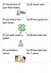 English Worksheet: Superstitions Matching