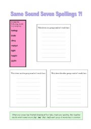 English Worksheets: Same Sound Seven Spellings?!