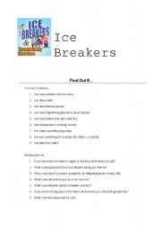 English Worksheet: Ice Breakers