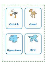 English Worksheet: ANIMAL CARDS SET 2(12.09.08)