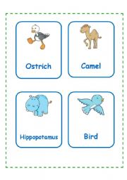 English Worksheets: ANIMAL CARDS SET 2(12.09.08)