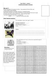 English Worksheet: King Arthur�s  project : Animals and fantastic creatures