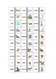 English Worksheets: Animals-Dominoes-Games