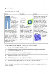 English Worksheet: Three Inventions