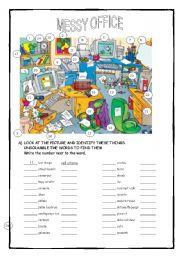 English Worksheets: A MESSY OFFICE