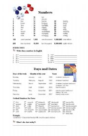 English Worksheet: Numbers. Figures and dates