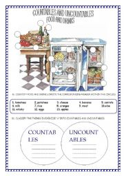 English Worksheet: COUNTABLE AND UNCOUNTABLE NOUNS - FOOD AND DRINK