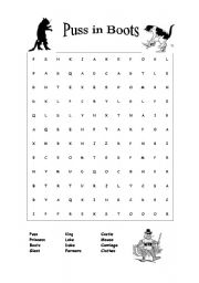 Puss in Boots - wordsearch