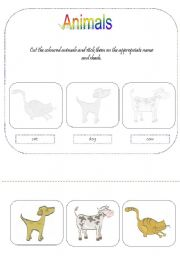English Worksheets: animals - for young learners