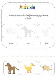English Worksheets: animals - for young learners 2