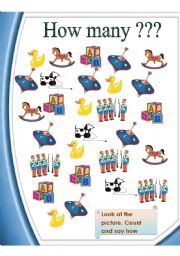 English Worksheet: How many toys?   = count, say, write. (2 pages)