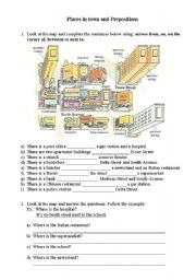 english worksheets places in town and prepositions. Black Bedroom Furniture Sets. Home Design Ideas