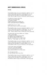 English Worksheet: Rehab  (  by  Amy  Winehouse )  song  worksheet