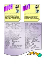 English Worksheet: MUCH or MANY ?
