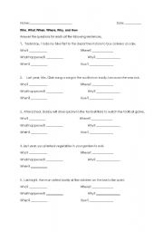 English Worksheets: Five W�s & How (Who, What, When, Where, Why, and How)