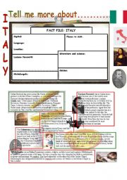 English Worksheet: Tell me more about.....ITALY